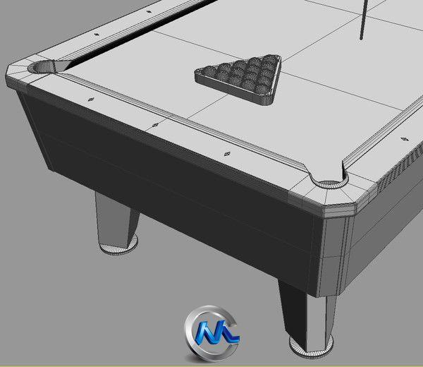 《台球桌台球架3D模型合辑》Turbosquid Pool table 8ft Commercial
