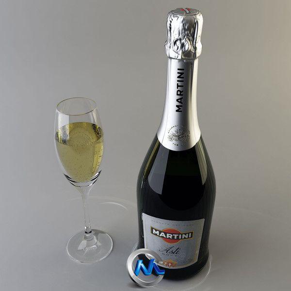 《马天尼红酒3D模型》Turbosquid Martini Asti