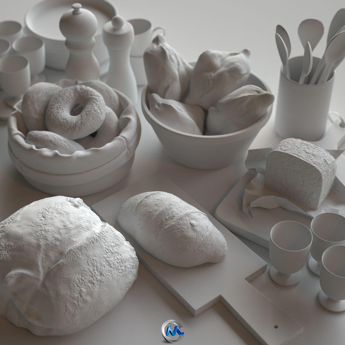 《面包早餐3D模型》BBB3viz Bits of bread