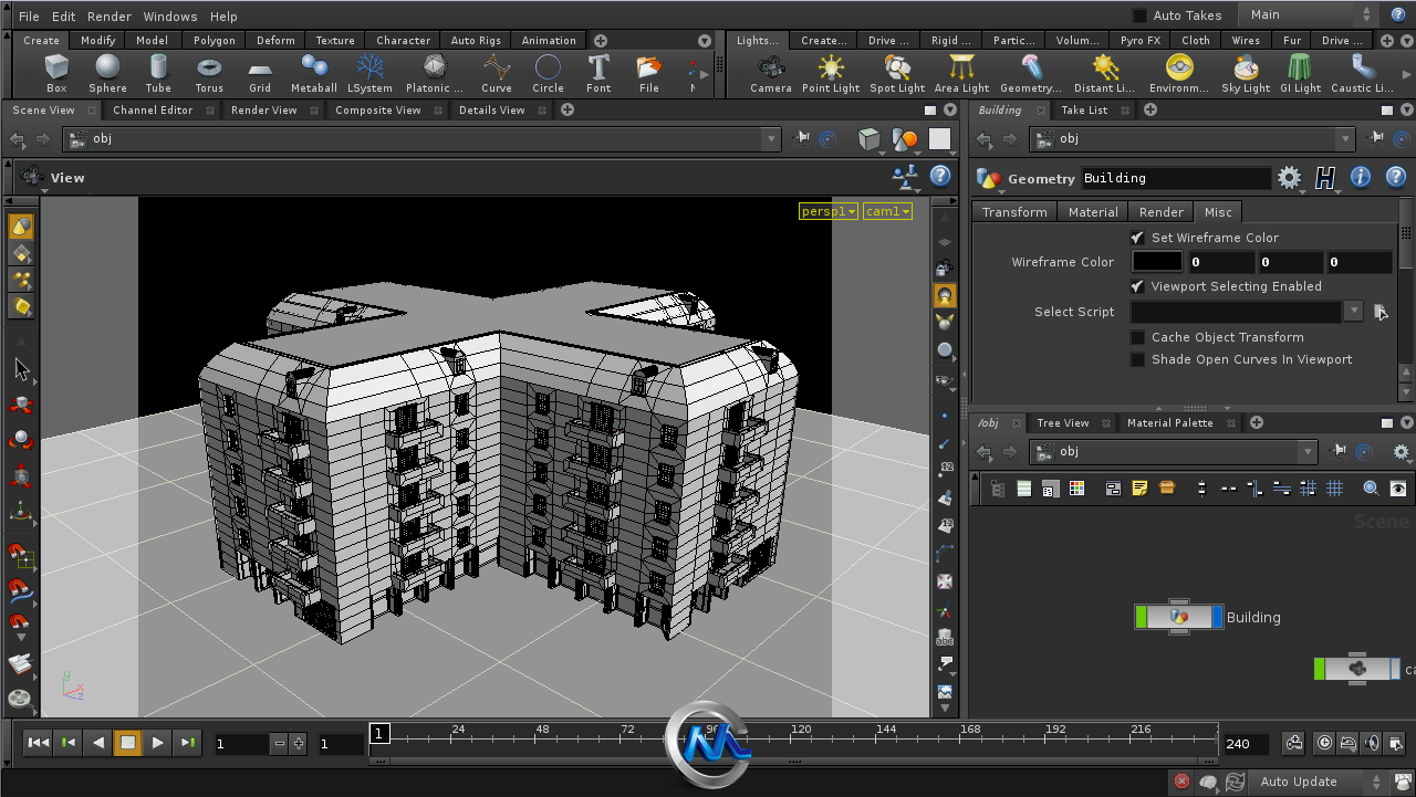 《Houdini建筑结构制作视频教程》cmiVFX Houdini Building Generation