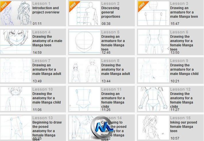 《Photoshop漫画绘制剖析视频教程》Digital-Tutors Drawing Manga Anatomy and Poses in Photoshop