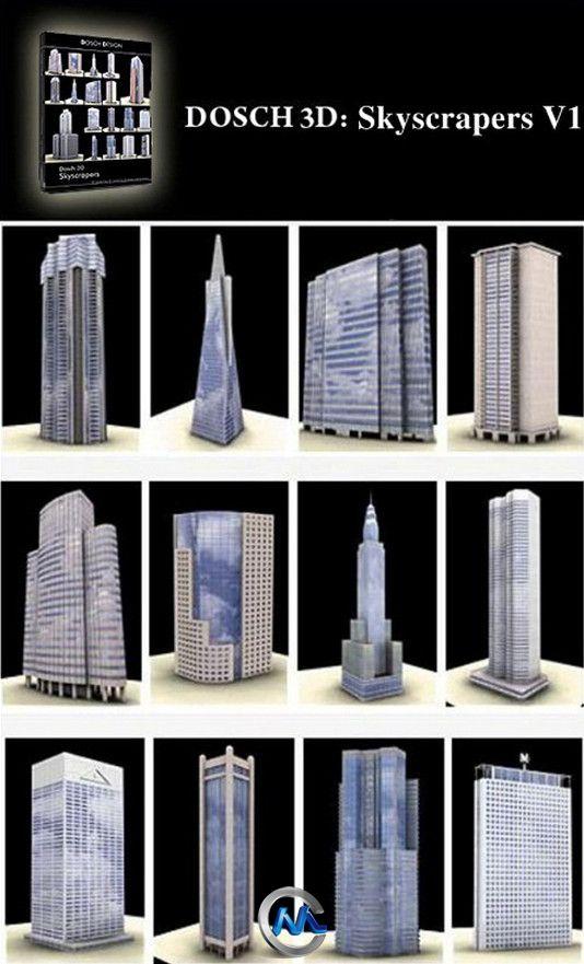 高层摩天大楼3D模型合辑 DOSCH DESIGN 3D Skyscrapers V1