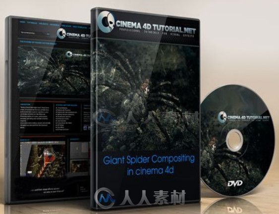 C4D巨型蜘蛛特效制作视频教程 Cinema 4D Tutorial.Net Giant Spider Compositing in cinema 4d