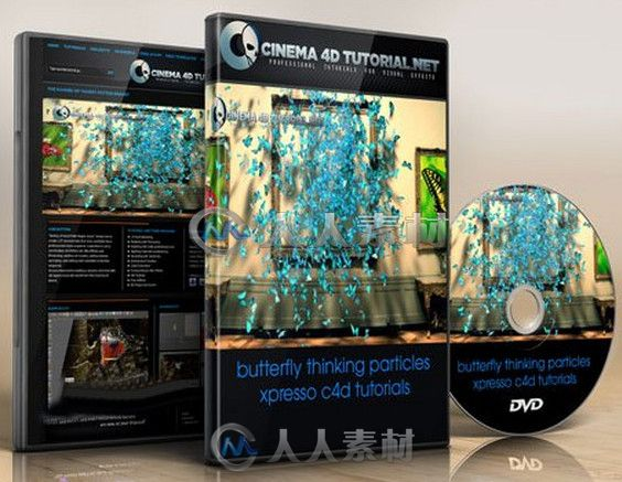 C4D蝴蝶群集特效制作视频教程 Cinema 4D Tutorial.Net Butterfly thinking particles xpresso
