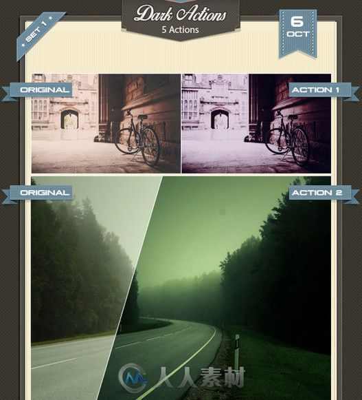 超炫暗色系调色特效PS动作合辑 Graphicriver dark actions 9115103