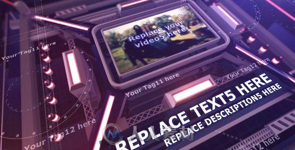 电子电路展示动画AE模板 Videohive The Intense Techno Cube Template 8870546
