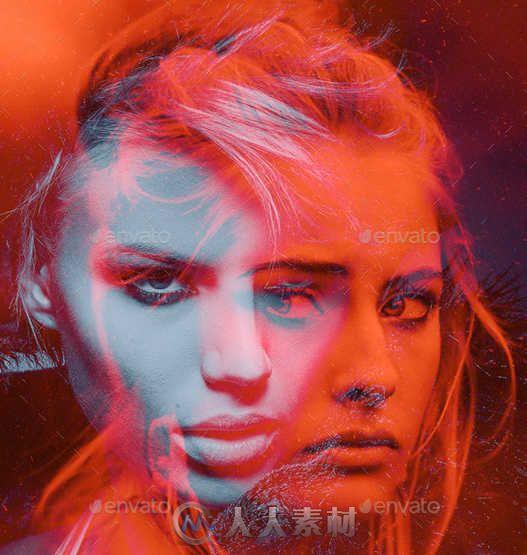 色彩重叠艺术特效PSD模板 Graphicriver Color Double Exposure Photoshop Photo Template 12736805