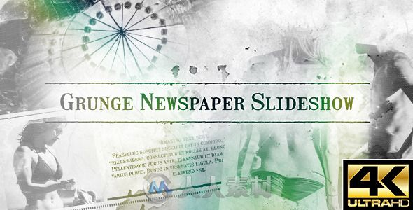 报纸幻灯片动画AE模板 Videohive Grunge Newspaper Slideshow 12575186