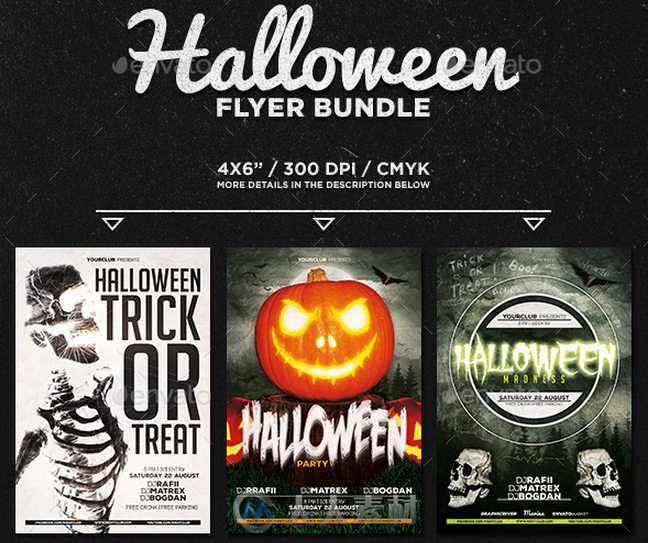 超酷万圣节宣传海报PSD模板合辑 Graphicriver Halloween Flyer Bundle 13114706