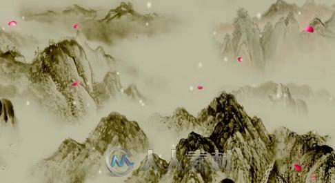 春雪水墨山水花瓣雪花中国风led大屏幕背景视频素材