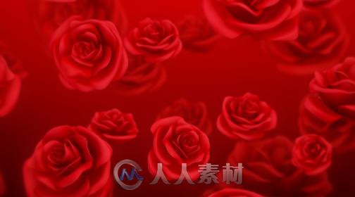 红玫瑰红色喜庆背景唯美婚礼婚庆led背景视频素材