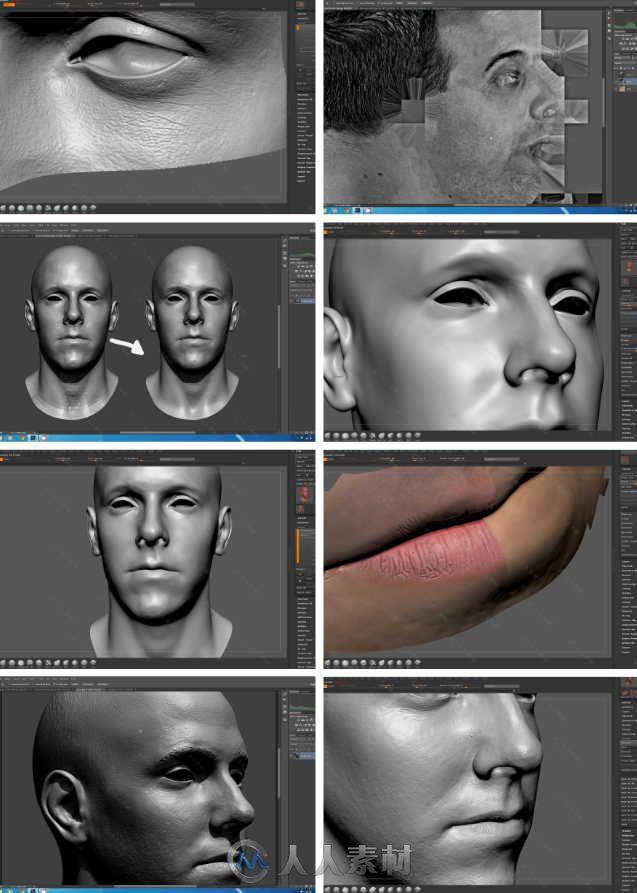 zbrush角色头像精细雕刻技巧视频教程