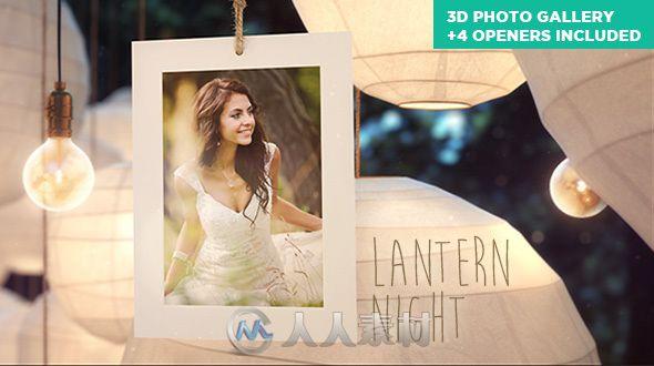 唯美婚纱摄影照相馆相册动画AE模板 Videohive Lantern Night Wedding Photo Gallery 10887049