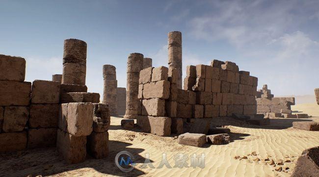 Unreal Engine游戏引擎扩展资料 - 沙漠废墟 Unreal Engine 4 Market Place Modular Desert Ruins