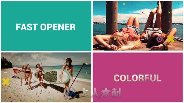 多彩遮罩快速展示动画AE模板 Videohive Fast Colorful Opener 15067304