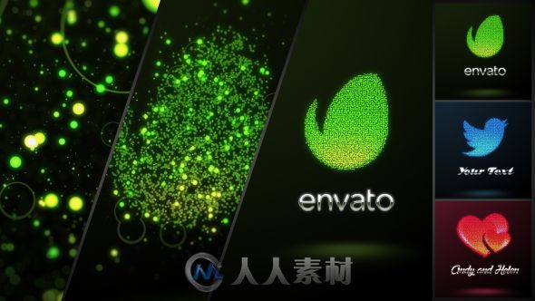 多彩光耀粒子Logo演绎动画AE模板 Videohive Glowing Dots Logo 13625463
