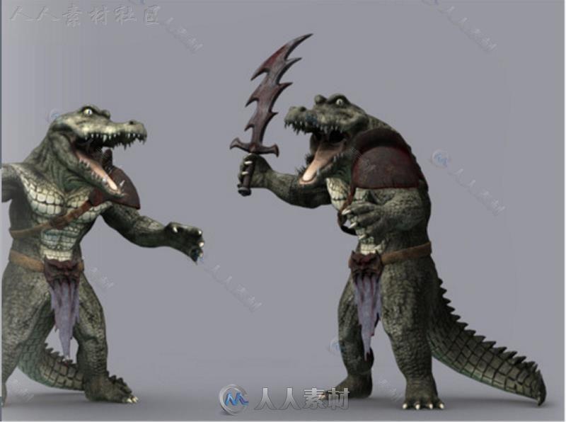 鳄鱼战士生物角色模型Unity3D素材资源