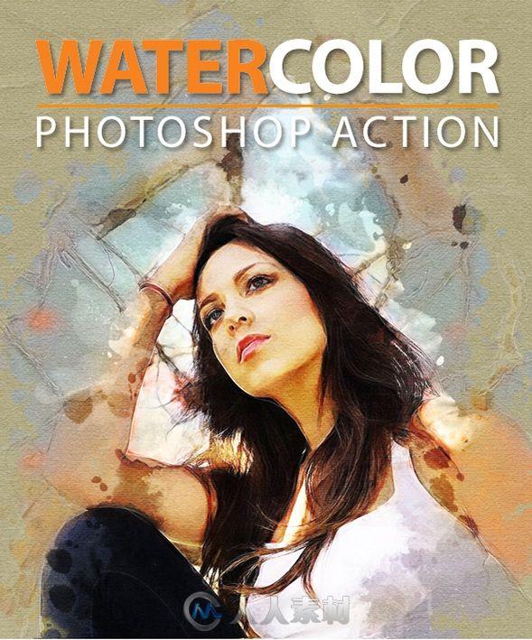 水彩风格照片处理PS动作