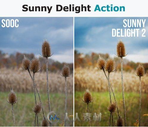 阳光喜悦照片调色特效PS动作