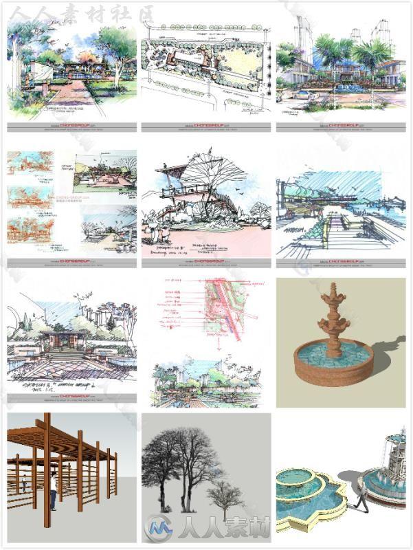 园林建筑景观 sketchup模型大量分享