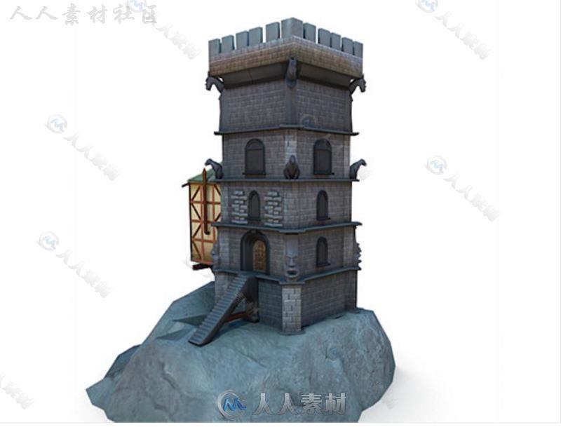 中世纪建筑炮塔历史环境模型Unity3D素材资源
