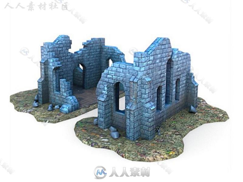 中世纪建筑破旧的教会历史环境模型Unity3D素材资源