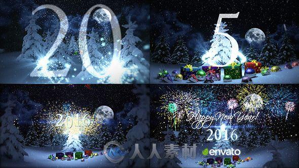 时尚美丽粒子新年倒计时幻灯片AE模板