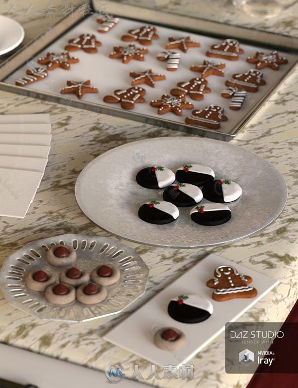 圣诞节美丽诱人的甜点饼干3D模型合辑