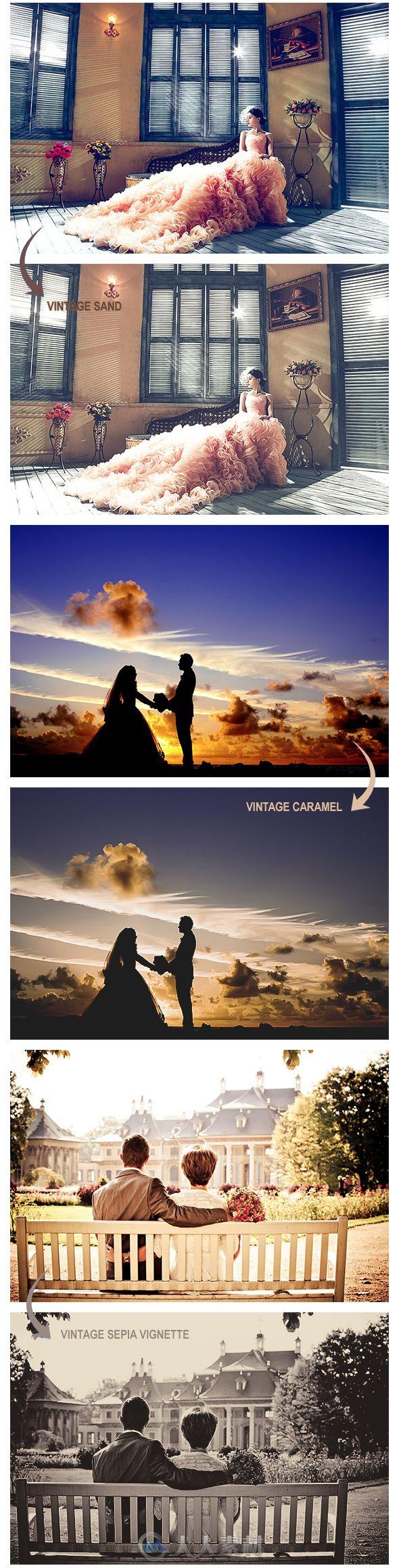 现代浪漫婚礼照时尚复古艺术效果PS动作