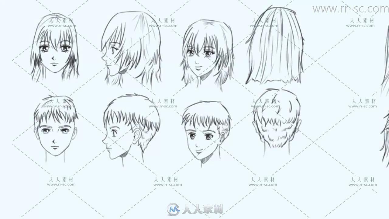 画教程的脸和头发神人斗士-绘画漫画-人视频插画漫画图片