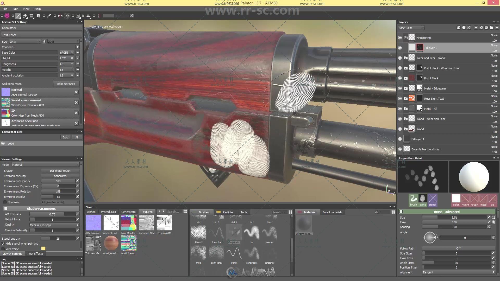 SubstancePainter游戏视频纹理v视频教程武器视频皂渲染图片