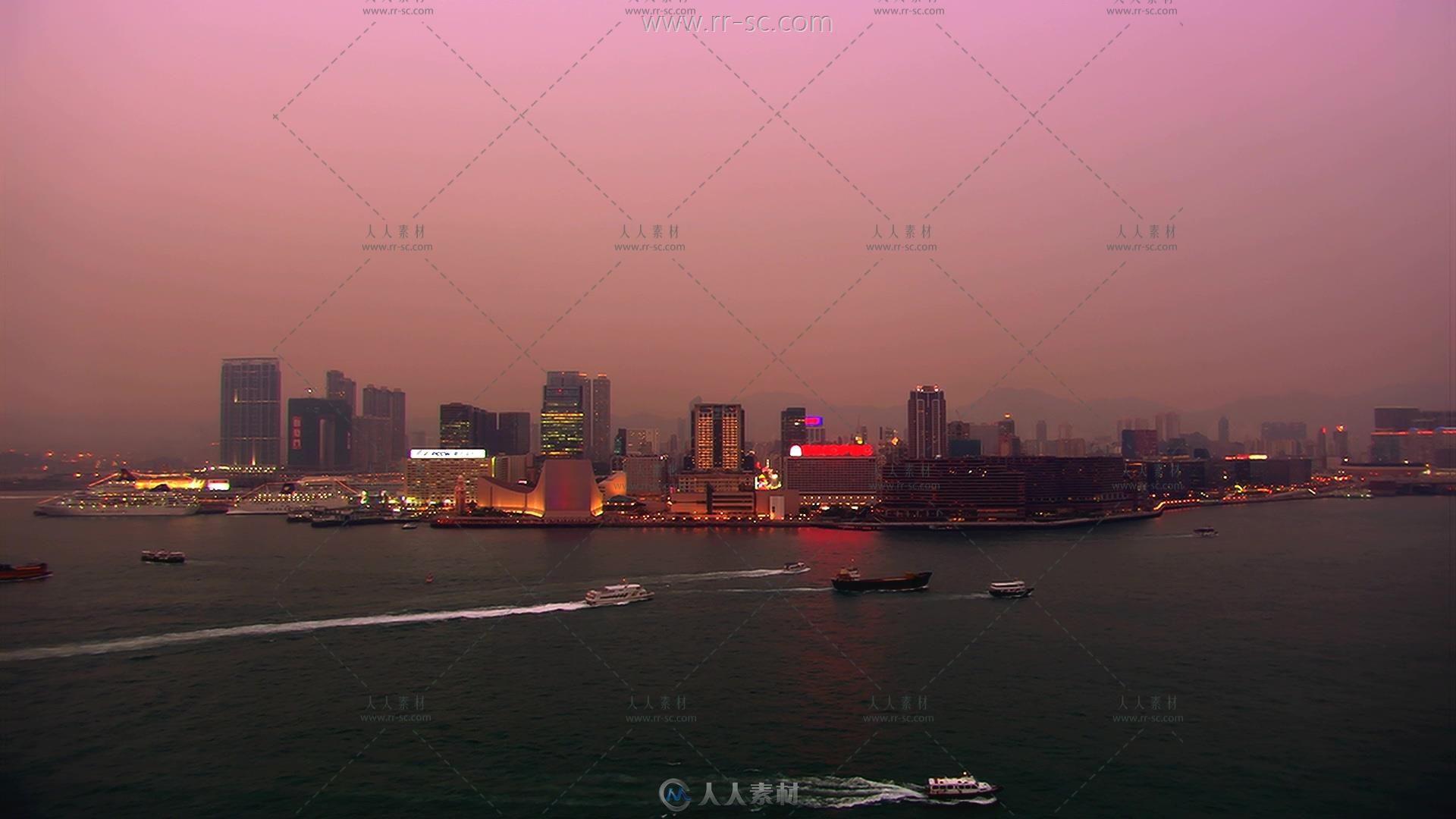 亚洲城市海滨夜晚高清实拍视频素材免费下载