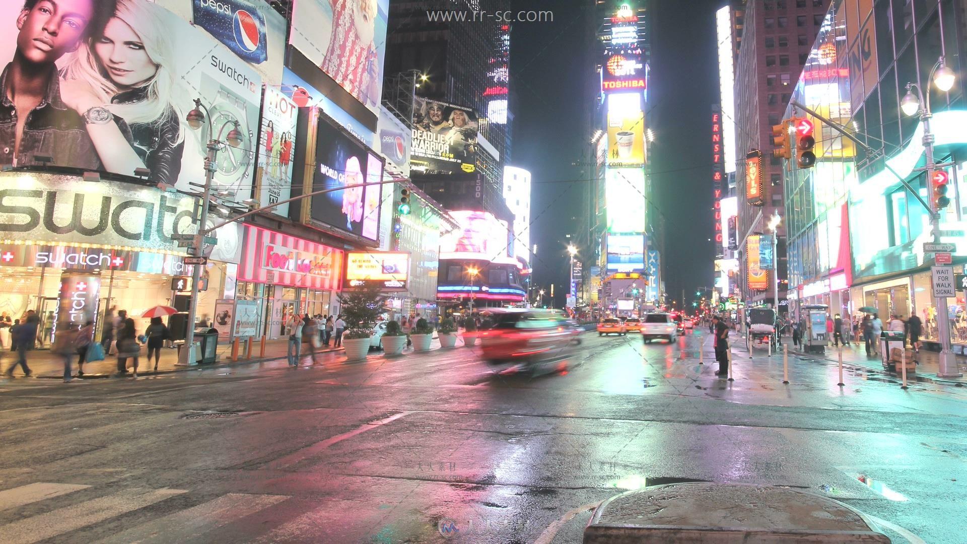 四组城市快速开过的车流高清实拍视频素材