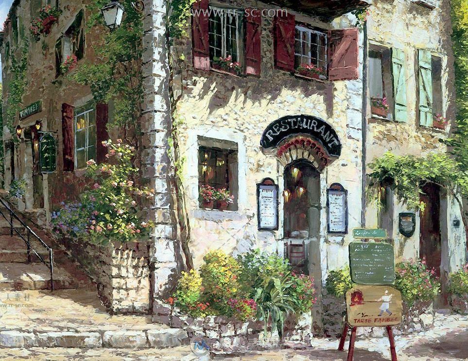欧洲攻略素材游戏油画场景素材小镇-折纸田园建筑73神街道2图片