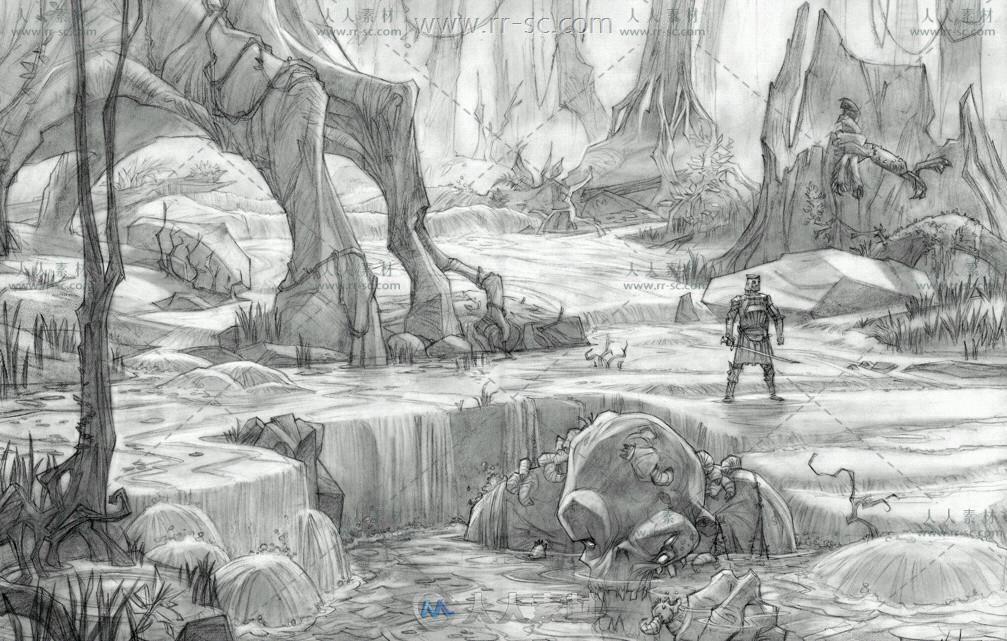 冰河世纪动画场景线稿设计稿素材资源