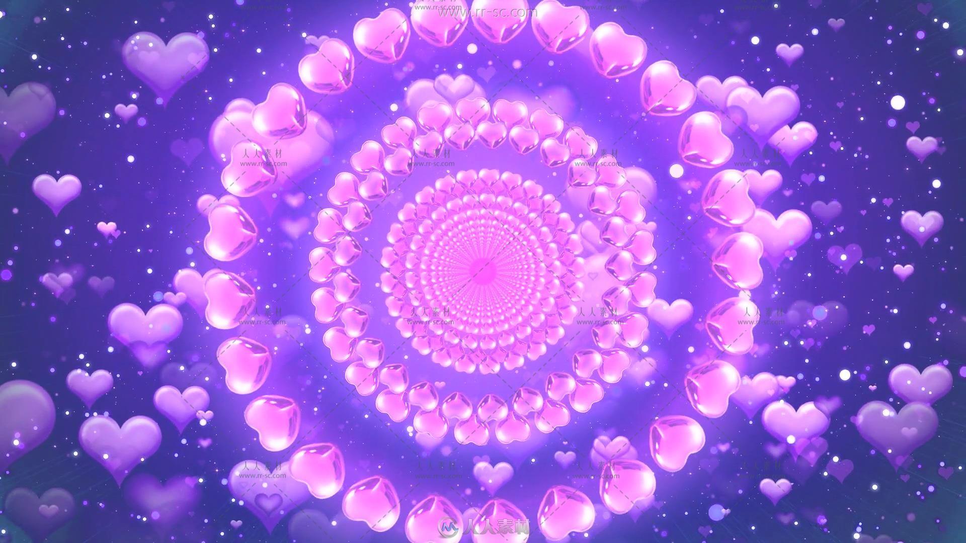 紫色心形爱心向外扩散背景视频素材