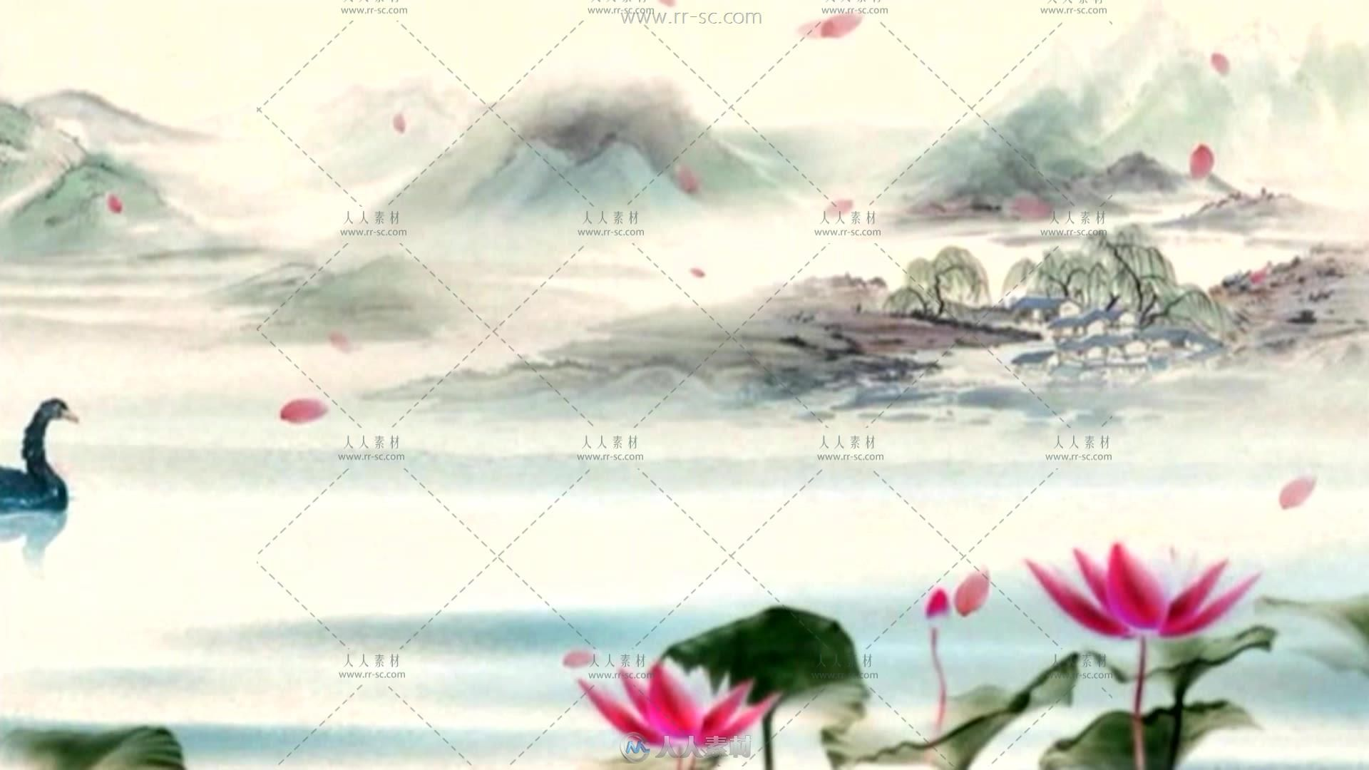 中国风系列水墨荷塘莲花背景视频素材