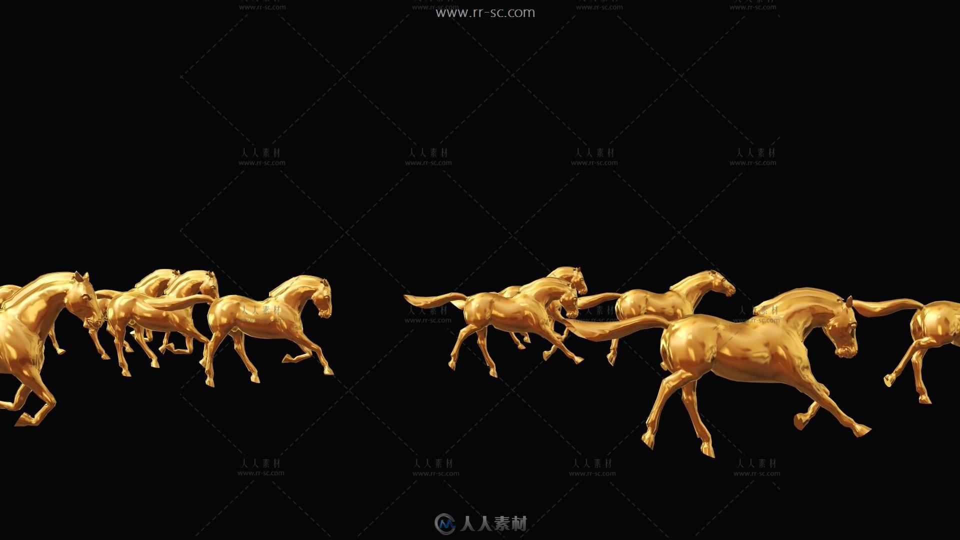 金色镀金马匹奔跑背景视频素材(带通道)