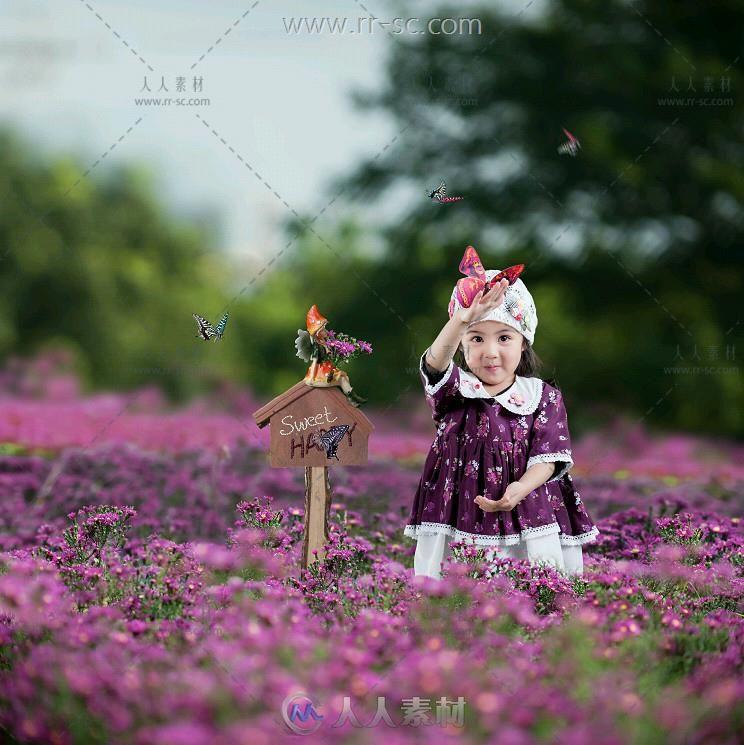 蝶儿翩翩飞系列免抠图儿童写真PSD模板