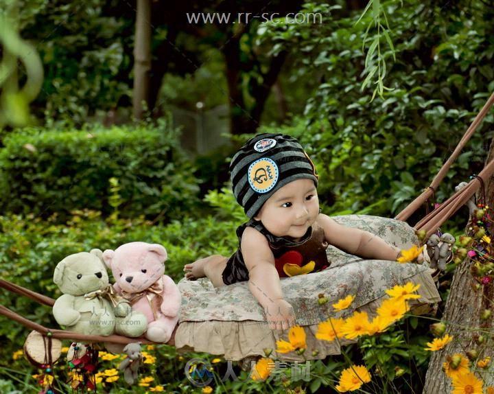 秋千童年系列免抠图儿童写真PSD模板