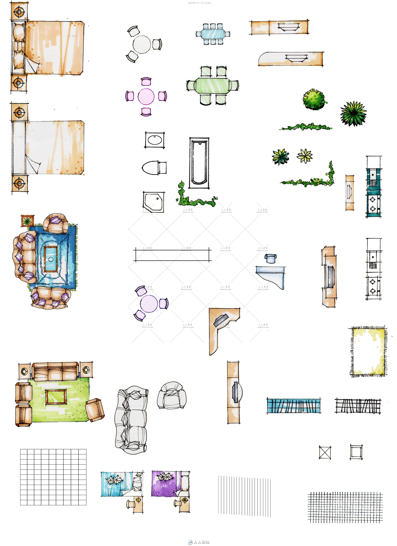 室内设计家装彩色平面素材
