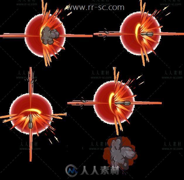 爆炸烟雾火焰导弹技能特效游戏美术素材