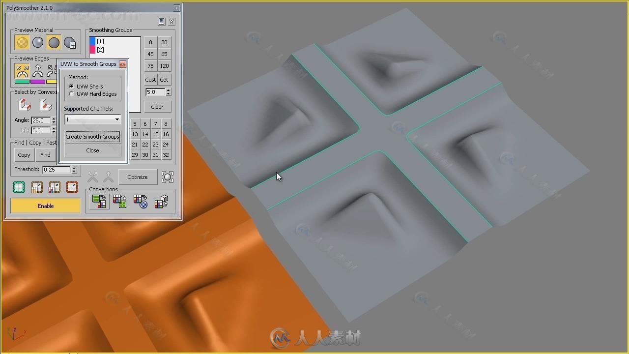 Polysmoother多边形平滑组管理3dsmax插件V2.5.1版45 / 作者:抱着猫的老鼠 / 帖子ID:16756785,5753981