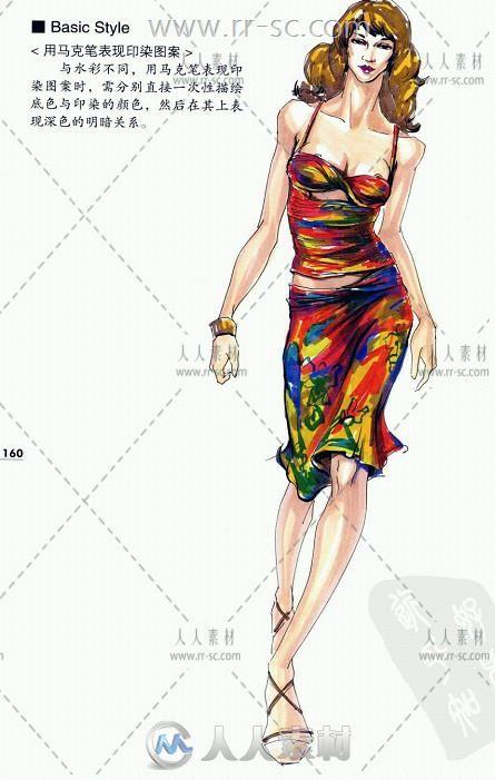 时装设计基础人体模特结构着衣技法线稿设计素材