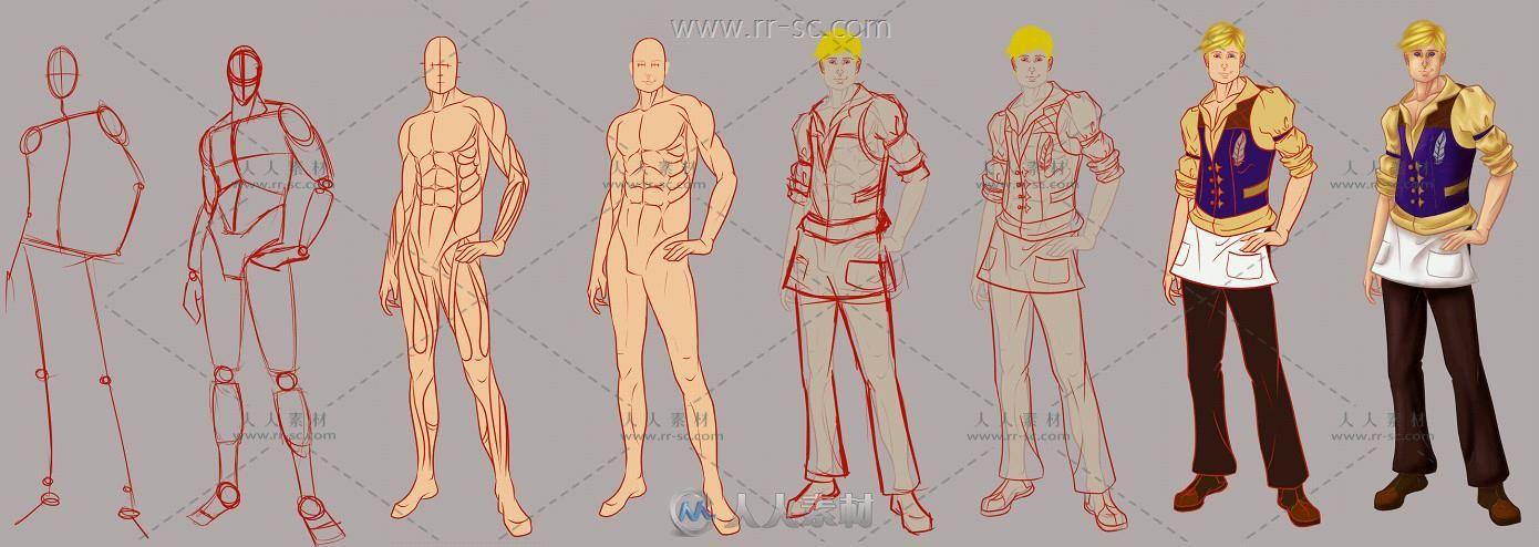 86张人体肌肉结构手绘线稿素材资源