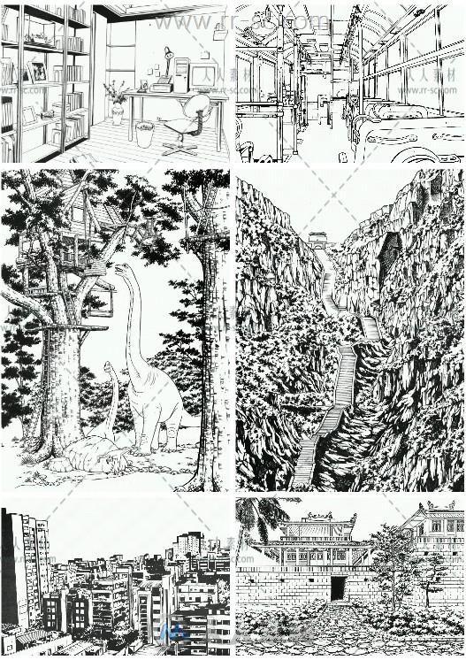 各种漫画场景背景插画线稿素材资源
