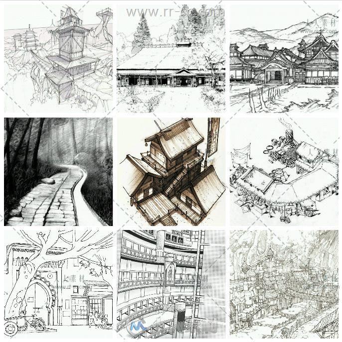 233张古风场景古典建筑风景线稿参考素材