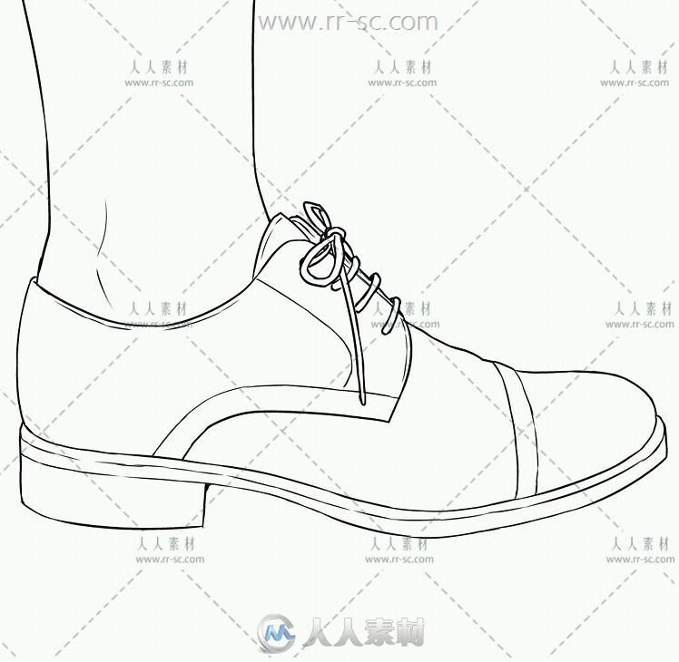 260张穿着鞋的脚部动作姿态线稿参考素材