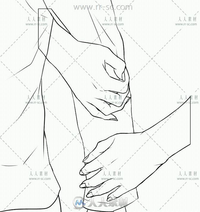 恋爱中的情侣手部动作线稿临摹参考素材