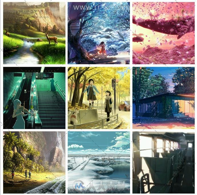 日系动画场景建筑原画插画手绘设计素材